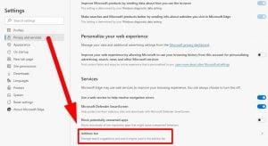 Pilih adress bar untuk mengganti bing edge menjadi google
